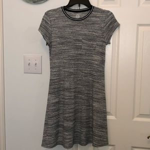 Gray T-Shirt Dress with Striped Collar